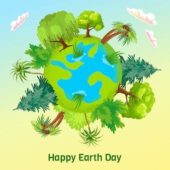 Земной день. векторный мультфильм карта