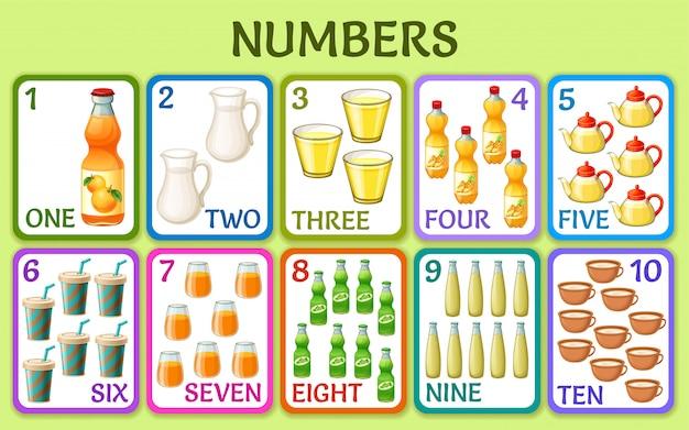 漫画の飲み物。子供カード番号。