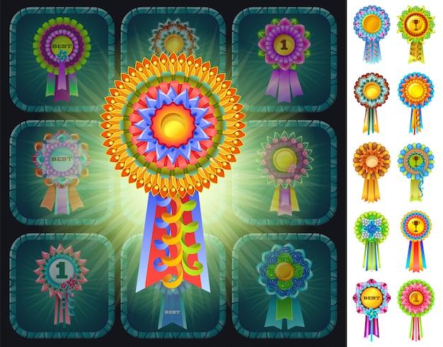 Разноцветные розетки призов.