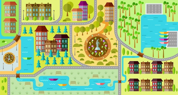 フラット市内地図