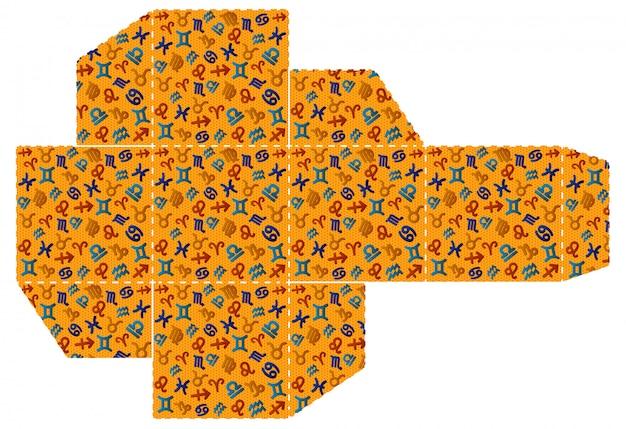 Дизайн знаков зодиака. упаковка вырезанного шаблона, изготовление бумаги
