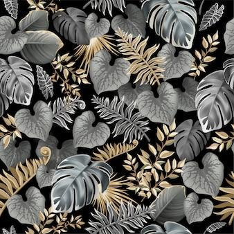 暗い熱帯の葉とのシームレスなパターン。