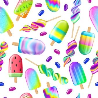 アイスクリームとのシームレスなパターン。夏のコンセプト