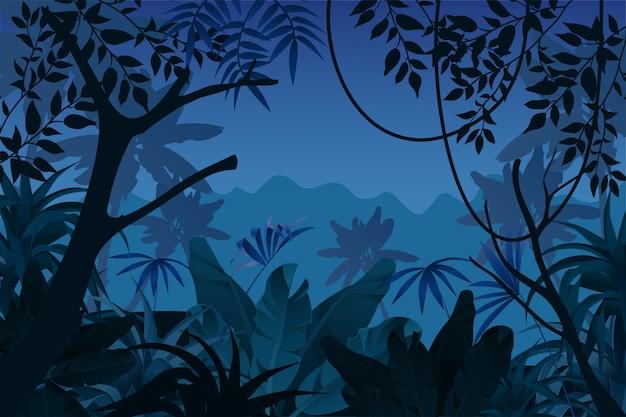 ゲームの背景の夜の熱帯のジャングル。