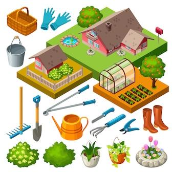 Садовые инструменты и цветы.