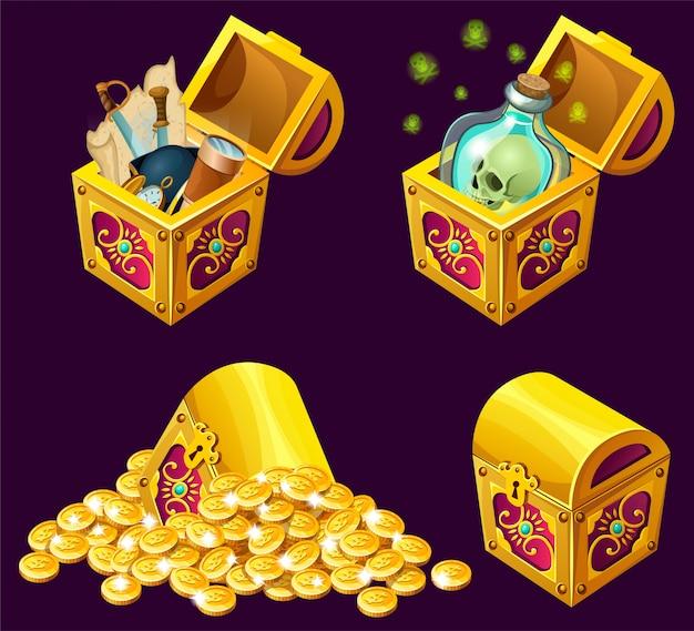宝物と漫画の等尺性の箱。