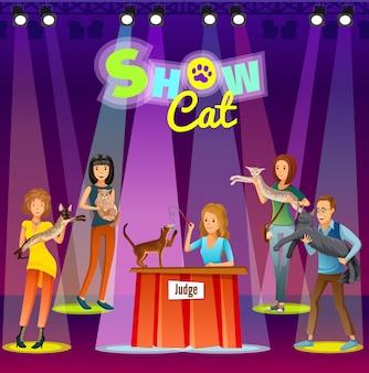 Афиша шоу кошек. мультфильм люди с домашним животным.