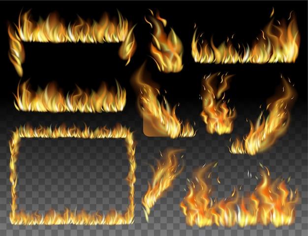 火花とリアルな火のセットです。