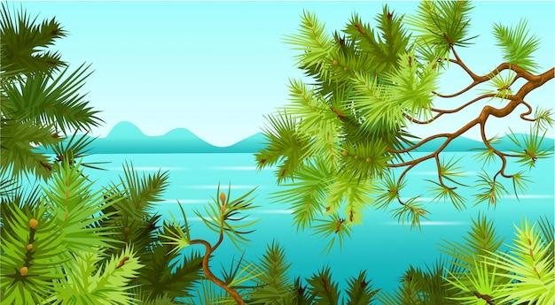 海の背景に松の木。
