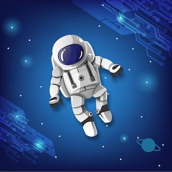 Мальчик-космонавт в галактике.