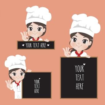 Милая девушка шеф-повар и вывески текст для ресторанов