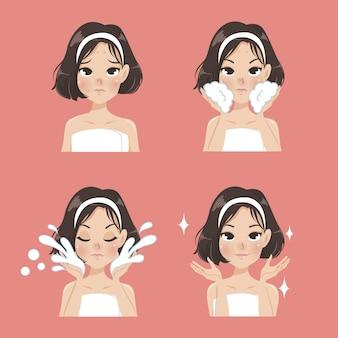 にきびから顔を洗うプロセス。