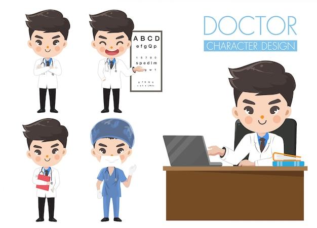 Доктор показывает различные эмоции и жесты.