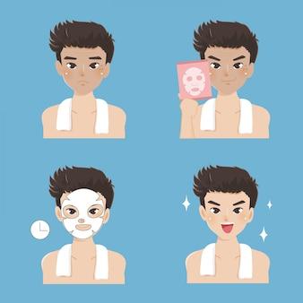 マスクシート処理は、ハンサムな男によってかかります。