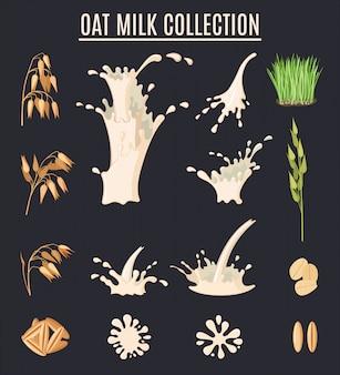 エンバクミルクコレクション。有機ベジタリアン料理。健康的なライフスタイルセット。