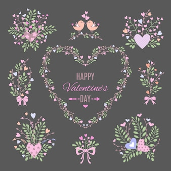 Набор цветочных элементов для вашего валентина