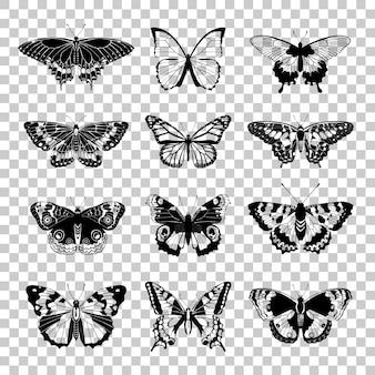 蝶のシルエットのセット