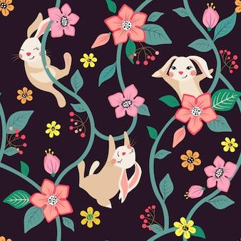 Бесшовный цветочный узор с милыми кроликами.