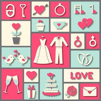 結婚式やバレンタインデーのための平らなベクトルアイコンを設定