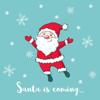 Рождественская открытка с милой санта-клауса.