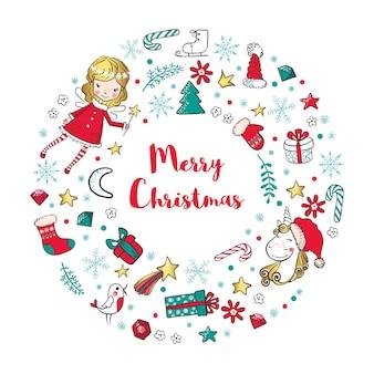 妖精、ユニコーン、伝統的な冬の休日の要素を持つクリスマスリース。