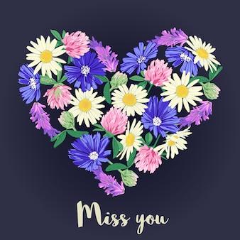 花の心であなたがいなくて寂しいカード。