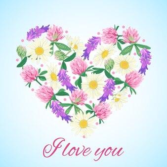花の心でロマンチックなカード。