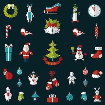 Набор рождественских плоских графических элементов