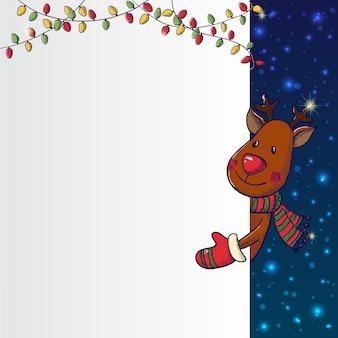 手描きクリスマス鹿持株カード