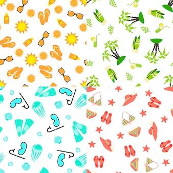 夏のシームレスパターンのセット
