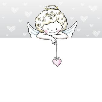 Милая открытка на день святого валентина с эскизом амур