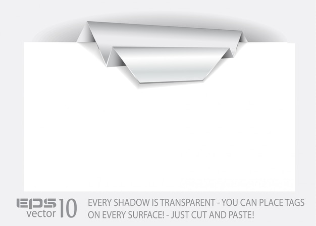 透明な影付きの折り紙のタグ。
