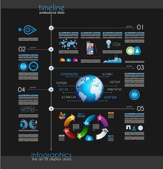 インフォグラフィック要素でデータを表示するタイムライン