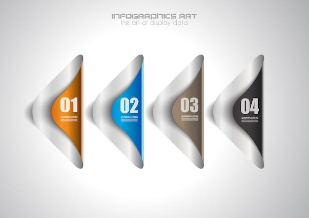 紙タグ付きインフォグラフィックデザインテンプレート。