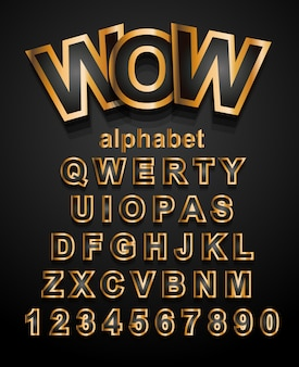 Золотой эффект шрифт алфавит с буквами и цифрами