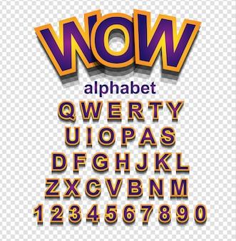 文字と数字の黄金効果アルファベットフォント
