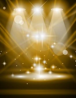 青い光線と輝く効果を持つ魔法のスポットライト