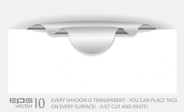 透明な影付きの紙タグ。