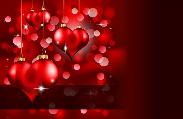 エレガントな赤と金のバレンタインデーバナー