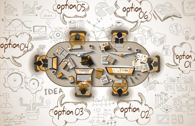 ビジネスとインフォグラフィックチームワーク落書きスケッチ