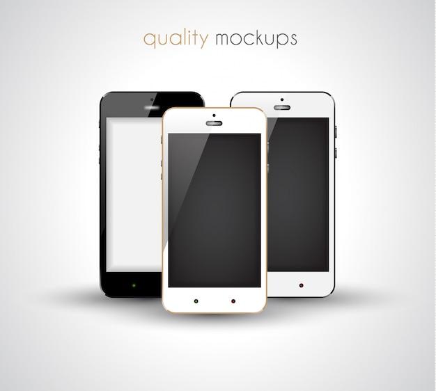 エレガントでモダンなスタイルのモックアップのスマートフォンの現実的なコレクションセット