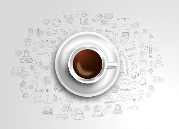 アイコンとテーブルの上の新鮮なコーヒーと背景
