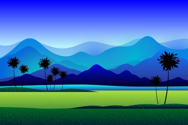 山と緑の田んぼの背景