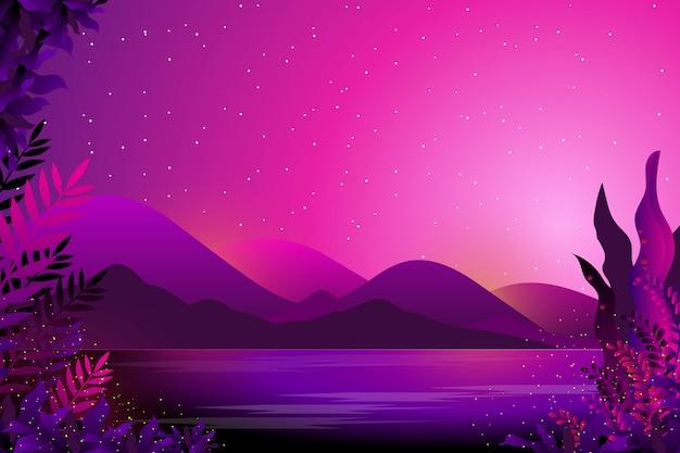 空と海の星空の夜の背景