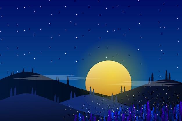 Звездная ночь и голубое небо ночной фон