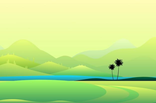 広い夏マウンテンビューの緑の山々と空の風景