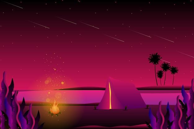 Летний ночной кемпинг на фоне моря