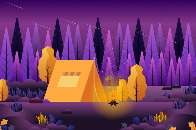 夏の森の中のキャンプ