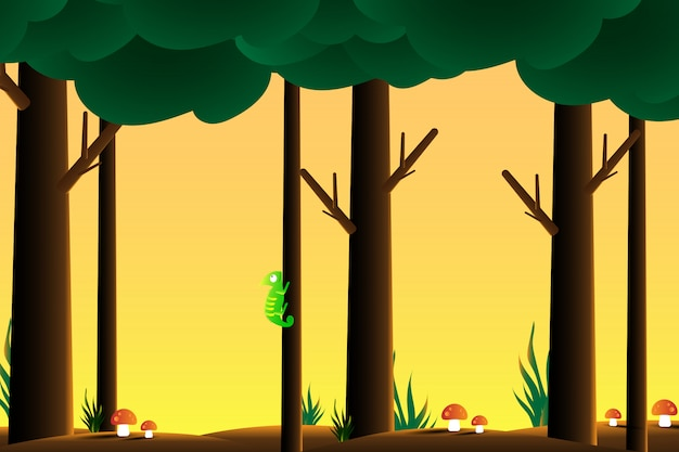 Зеленый хамелеон в лесу