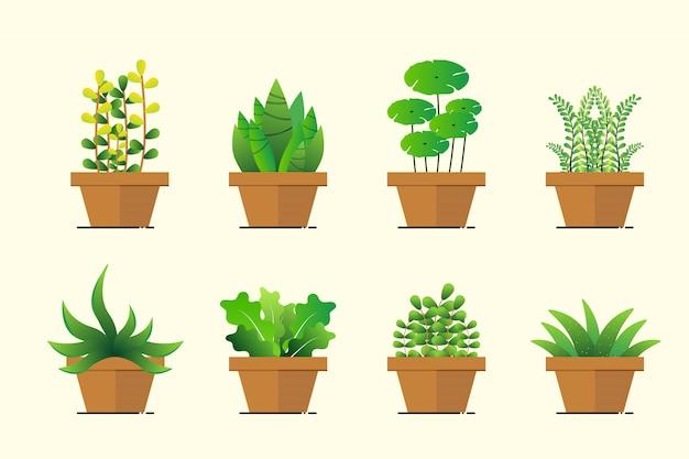 フラットなデザインで緑の植木鉢のセット